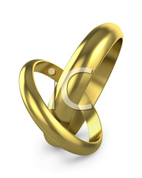 picture of two wedding bands hooked together in a vector clip art illustration