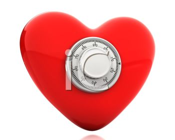 picture of a heart with a combination lock in the center in a vector clip art illustration