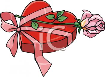 picture of a heart shaped box of chocolates with a pink ribbon and pink rose in a vector clip art illustration