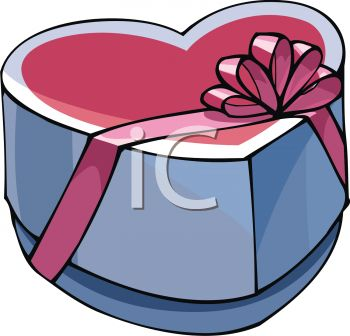 picture of a large heart shaped box of chocolates with  a pink ribbon in a vector clip art illustration