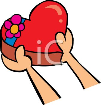 picture of a person handing someone a heart shaped box of chocolates in a vector clip art illustration