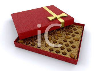 picture of a box of chocolates in a vector clip art illustration
