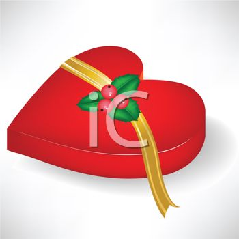 picture of a red heart shaped box of chocolates with a gold ribbon and holly berries in a vector clip art illustration