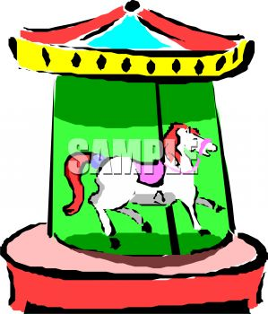 picture of a toy carousel in  a vector clip art illustration