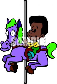 picture of a boy riding on a horse and carousel in a vector clip art illustration