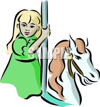 picture of a girl riding on a horse and carousel in a vector clip art illustration