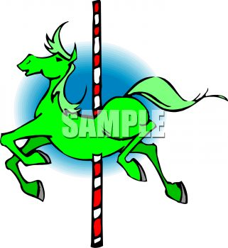 picture of a horse and carousel in a vector clip art illustration