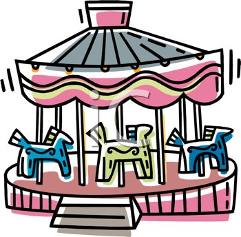 picture of a carousel ride in a vector clip art illustration