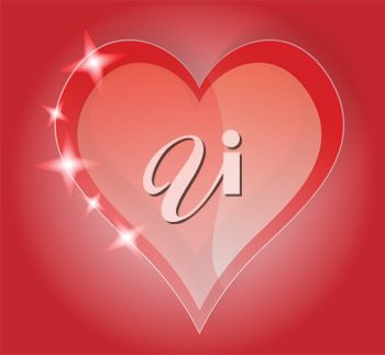 picture of a card with a pink background with a glistening pink heart with a red outline in a vector clip art illustration
