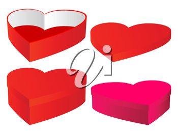 picture of heart boxes with lids in a vector clip art illustration
