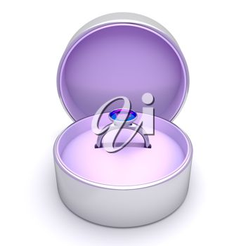 picture of a ring inside a round box in a vector clip art illustration