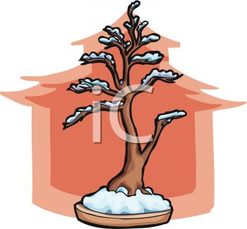 picture of a bonsai tree in a planter with a pink tree silhouette in the background in a vector clip art illustration