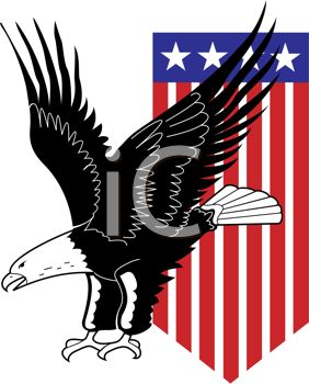 picture of a bald eagle flying with an american flag flying behind him in a vector clip art illustration