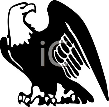 picture of a silhouette of a bald eagle in a vector clip art illustration