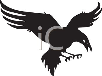 picture of a silhouette of an eagle preparing to attack it's prey in a vector clip art illustration