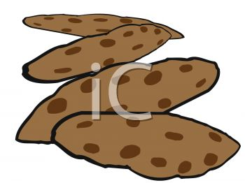 picture of chocolate chip cookies on a white background in a vector clip art illustration