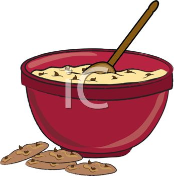 picture of a bowl of chocolate chip cookie dough with a spoon inside and chocolate chip cookies on the counter in a vector clip art illustration