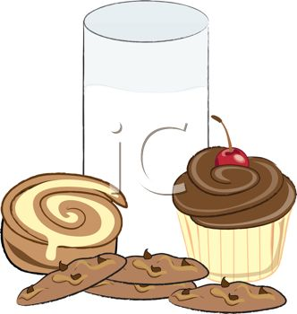 picture of a chocolate cupcake, cinnamon roll, chocolate chip cookies, and a glass of milk in a vector clip art illustration