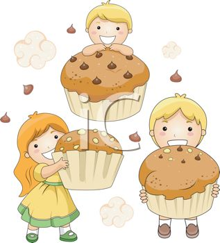 picture of three children  holding cupcakes and smiling with chocolate chips and clouds in the air in a vector clip art illustration