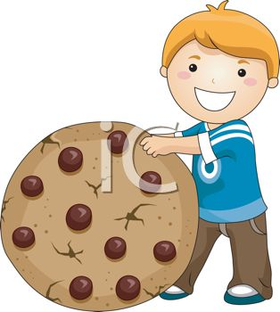 picture of a happy smiling boy holding a large chocolate chip cookie in a vector clip art illustration