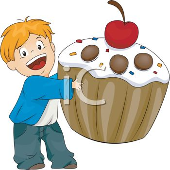 picture of a happy smiling boy holding a giant cupcake with a cherry on top in a vector clip art illustration