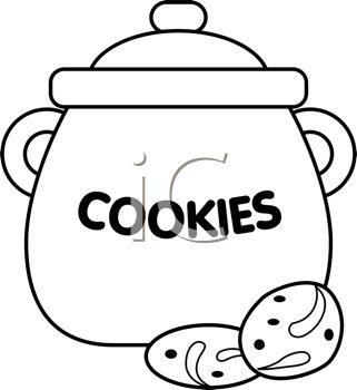 picture of a cookie jar with cookies on the counter in a vector clip art illustration
