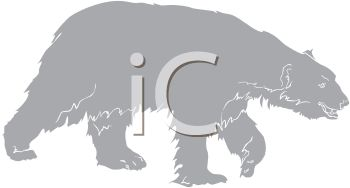 picture of a grayscale polar bear walking in a vector clip art illustration