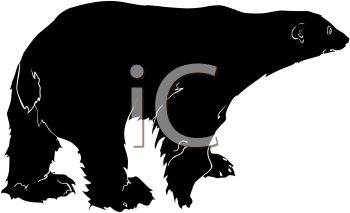 picture of a silhouette of a polar bear walking in a vector clip art illustration