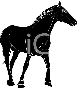picture of a silhouette of a horse standing on a white background in a vector clip art illustration