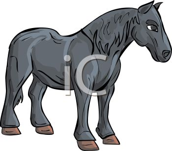 picture of a horse standing on a white background in a vector clip art illustration