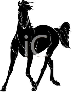 picture of a silhouette of a horse galloping in a vector clip art illustration