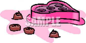 picture of a heart shaped box of chocolates with a few chocolates on the table in a vector clip art illustration