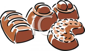 picture of assorted chocolates in a vector clip art illustration
