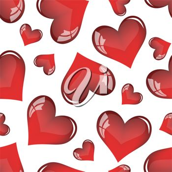 picture of a background of assorted hearts in a vector clip art illustration