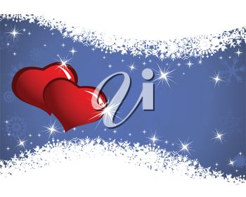 picture of a background with snowflakes, stars, and two red hearts in a vector clip art illustration