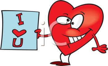 picture of an animated heart with a cheesy grin holding an i love rh clipartguide com