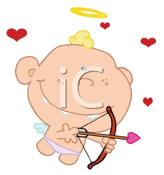 picture of a boy dressed as cupid shooting an arrow in a vector clip art illustration