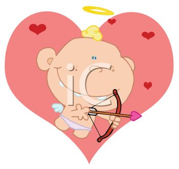 picture of a boy dressed as cupid shooting an arrow on a heart shaped background in a vector clip art illustration