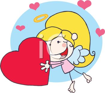 picture of a young girl wearing angel wings holding a large heart in a vector clip art illustration