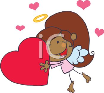 picture of a young ethnic girl wearing angel wings holding a large heart in a vector clip art illustration