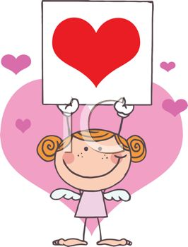 picture of a young cupid girl holding a heart sign over her head in a vector clip art illustration