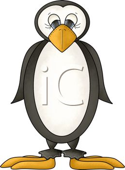 picture of a penguin in a vector clip art illustration