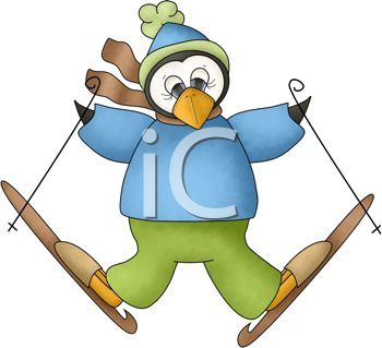picture of a penguin snow skiing in a vector clip art illustration