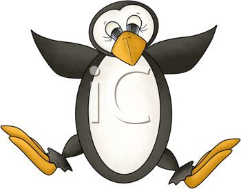 picture of a penguin jumping in the air in a vector clip art illustration