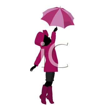 picture of a young ethnic girl holding an umbrella over her head in a vector clip art illustration