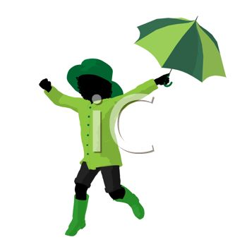 picture of a silhouette of a young girl running holding an umbrella in a vector clip art illustration