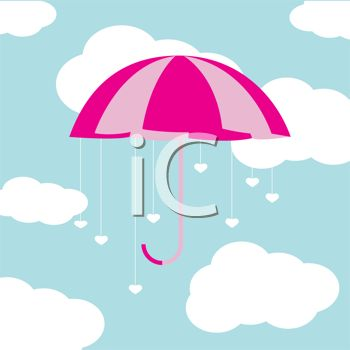 picture of an open umbrella with hearts shapes dangling in a cloudy sky in a vector clip art illustration