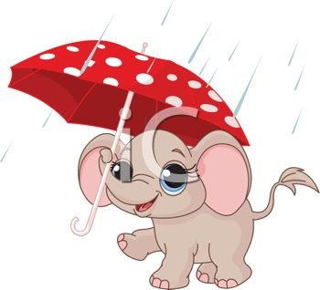 picture of a baby elephant holding an umbrella in the rain in a vector clip art illustration