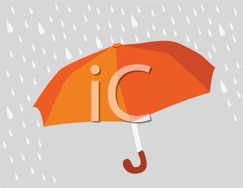 picture of an open umbrella in the rain in a vector clip art illustration