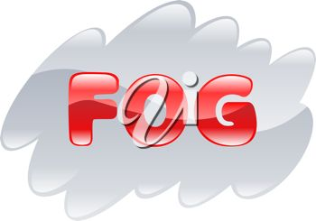 picture of a cloud of fog with the word fog across the front in a vector clip art illustration